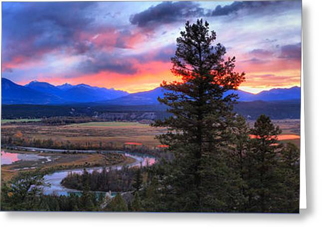 Columbia Wetlands Fire In The Sky Greeting Card by Adam Jewell