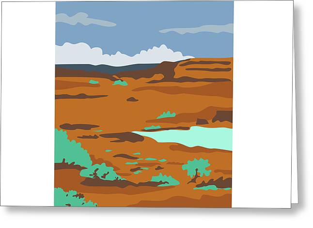 Columbian Basin Desert Scene Wpa Greeting Card