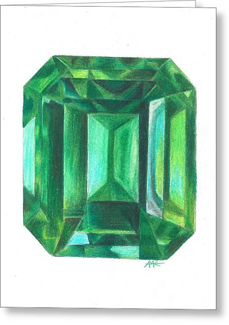 Emerald Facet Greeting Card by Abigail Kramer