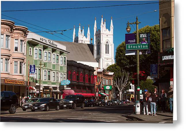 Columbus And Stockton In North Beach Greeting Card