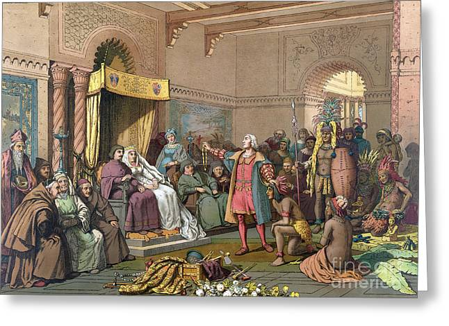 Columbus At Spanish Royal Court, 1493 Greeting Card by Science Source