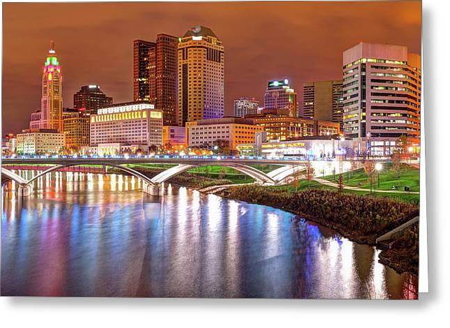 Columbus Downtown Skyline At Night - Ohio Greeting Card