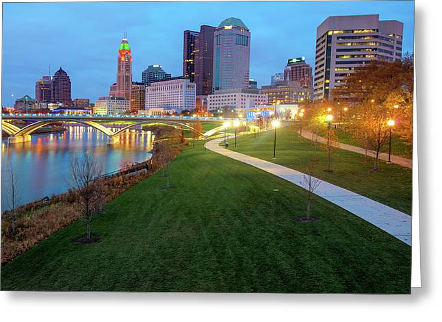 Columbus Downtown Skyline In Winter Greeting Card