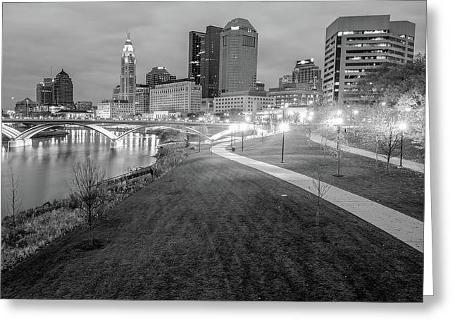 Columbus Downtown Skyline In Winter - Black And White Greeting Card