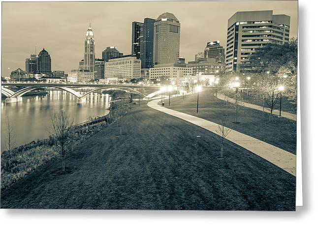 Columbus Downtown Skyline In Winter - Sepia Greeting Card