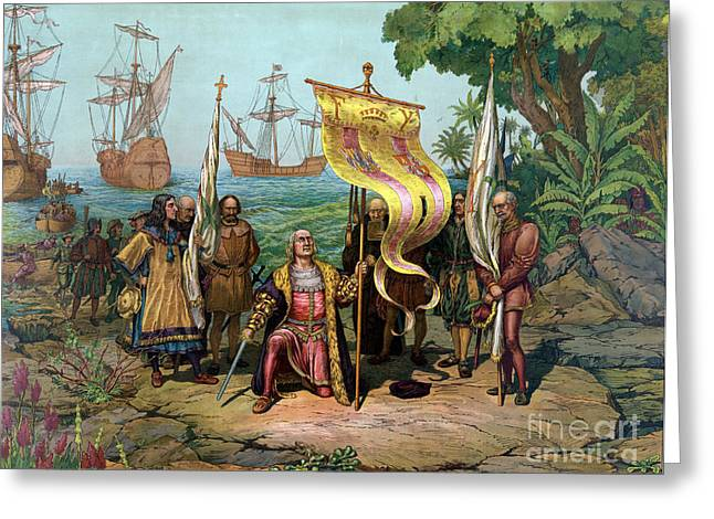 Columbus First Landing In The New Greeting Card by Science Source