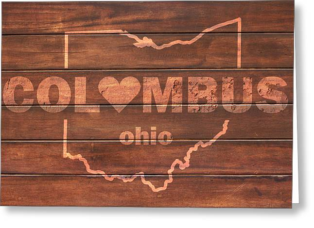 Columbus Heart Wording With Ohio State Outline Painted On Wood Planks Greeting Card