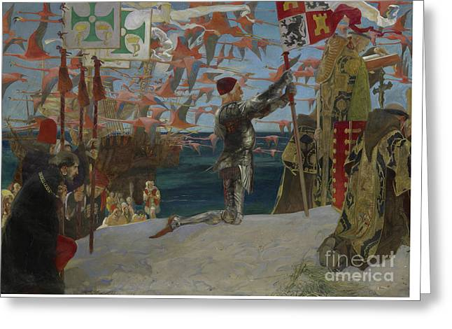 Columbus In The New World Greeting Card by Edwin Austin Abbey