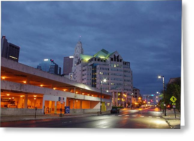 Greeting Card featuring the photograph Columbus Night 50145 by Brian Gryphon