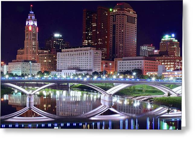 Columbus Night On The Scioto River Greeting Card