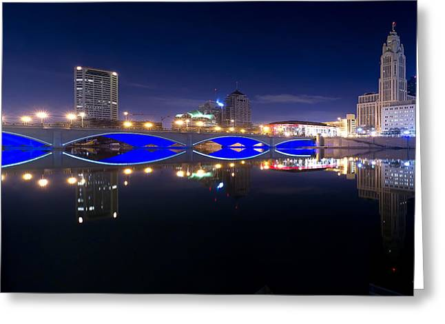 Columbus Oh Blue Bridge Reflections Greeting Card