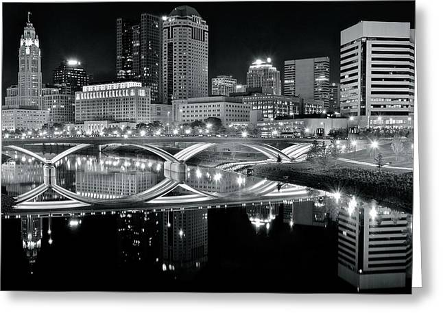 Columbus Ohio Black And White Greeting Card by Frozen in Time Fine Art Photography