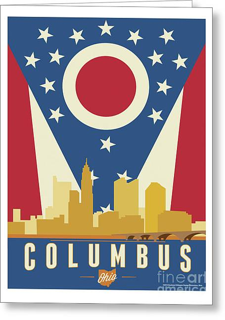 Columbus - Ohio Burgee Greeting Card by Buckland Gillespie