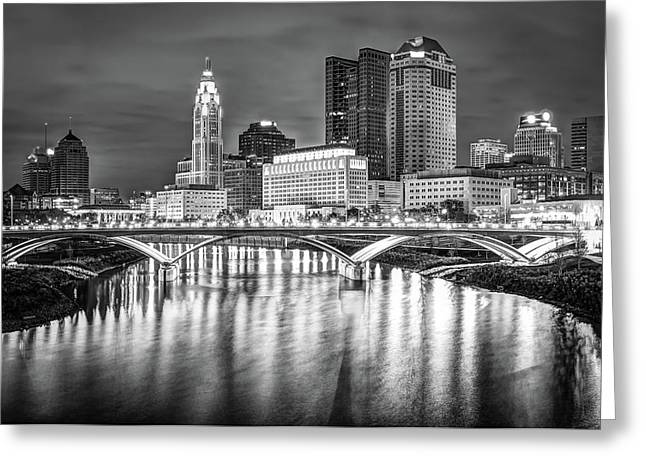 Columbus Ohio Downtown Skyline In Black And White Greeting Card
