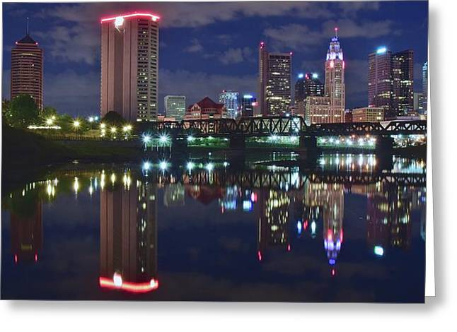 Columbus Ohio Panorama Over The Scioto Greeting Card by Frozen in Time Fine Art Photography
