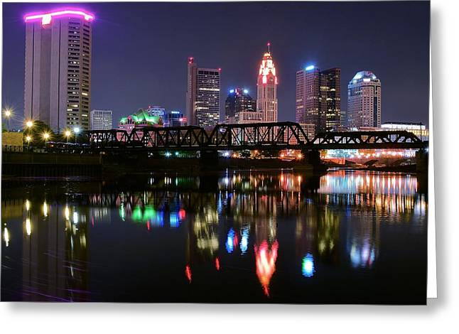 Columbus Ohio Reflecting In The Scioto River Greeting Card by Frozen in Time Fine Art Photography