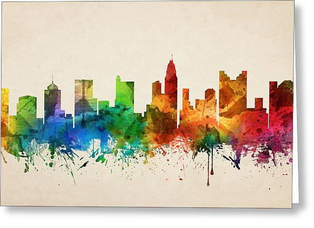 Columbus Ohio Skyline 05 Greeting Card by Aged Pixel