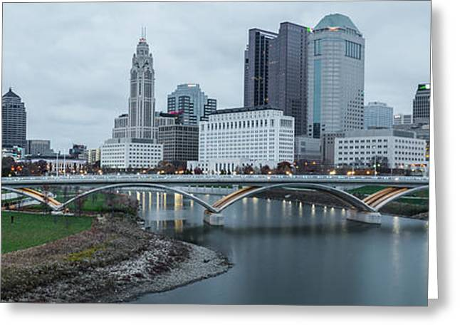 Columbus Ohio Skyline At Dusk Panoramic Greeting Card by Gregory Ballos