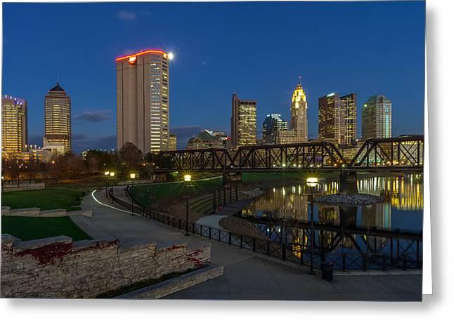 Columbus Ohio Skyline At Dusk Panoramic Greeting Card by Scott McGuire