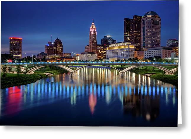 Greeting Card featuring the photograph Columbus Ohio Skyline At Night by Adam Romanowicz