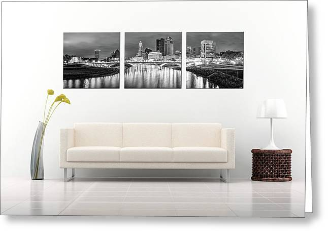 Columbus Ohio Skyline At Night In Black And White - Panoramic Panels Series Greeting Card