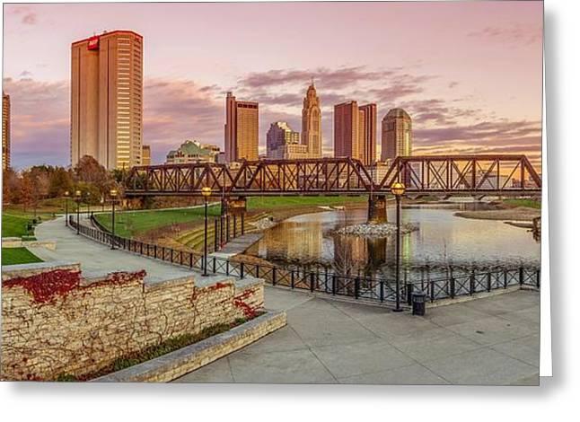 Columbus Ohio Skyline At Sunset Greeting Card by Scott McGuire