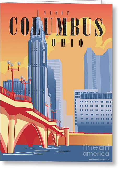 Columbus Ohio Skyline Greeting Card by Buckland Gillespie
