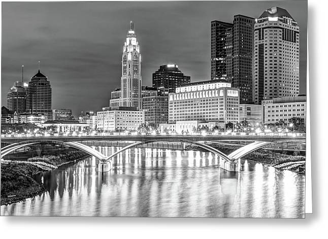 Columbus Ohio Skyline In Black And White Greeting Card