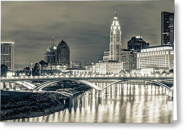 Columbus Ohio Skyline In Sepia Greeting Card by Gregory Ballos