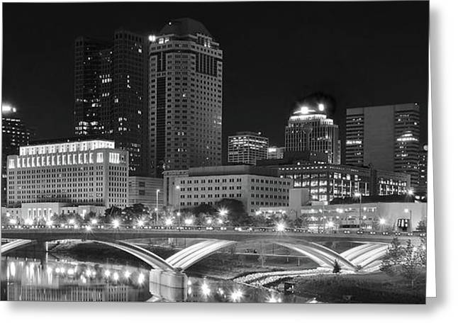Columbus Panoramic Black And White Night Greeting Card