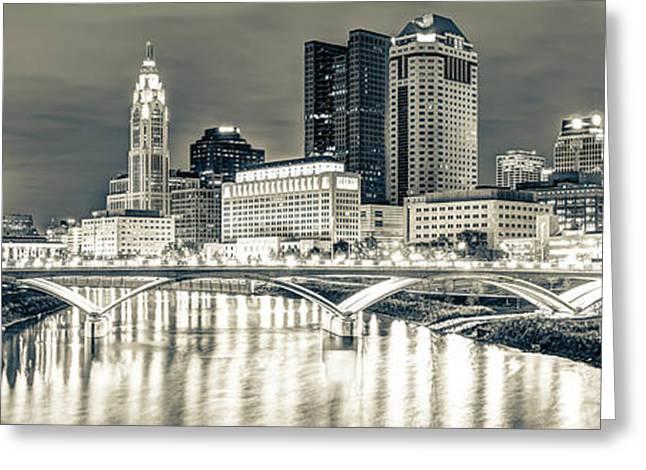 Columbus Skyline At Night Sepia Panorama - Ohio City Photography Greeting Card