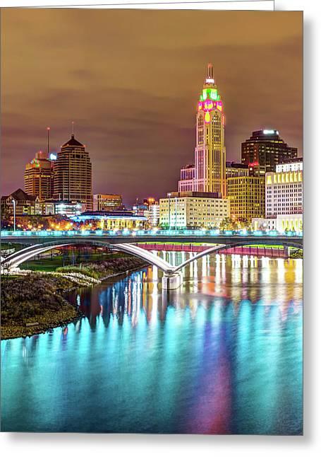 Columbus Skyline Blue Waters Greeting Card
