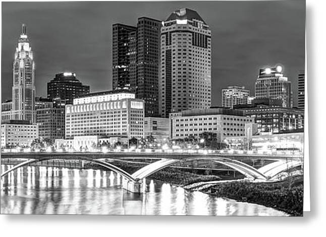 Greeting Card featuring the photograph Columbus Skyline Panorama Black And White - Ohio Usa by Gregory Ballos