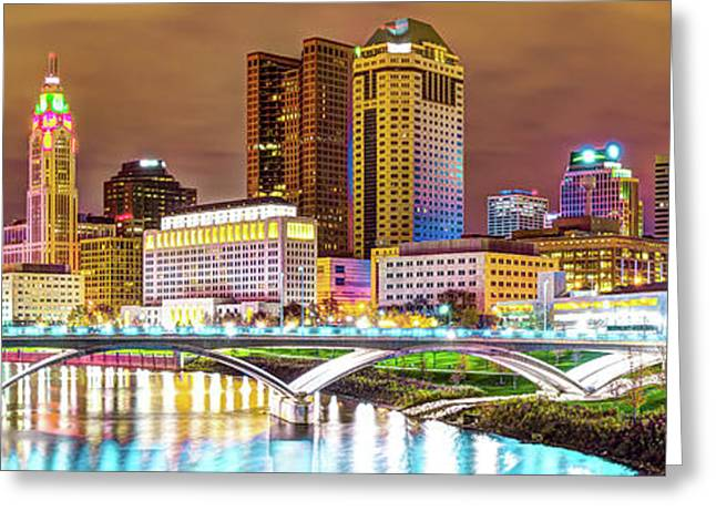 Greeting Card featuring the photograph Columbus Skyline Panorama Color - Ohio Usa by Gregory Ballos