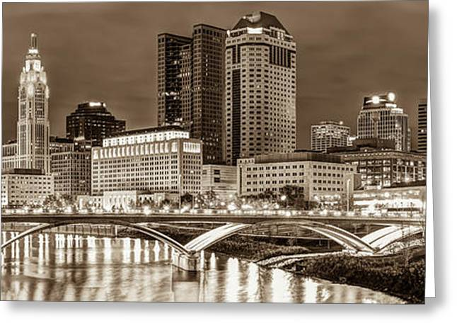 Greeting Card featuring the photograph Columbus Skyline Panorama Sepia - Ohio Usa by Gregory Ballos