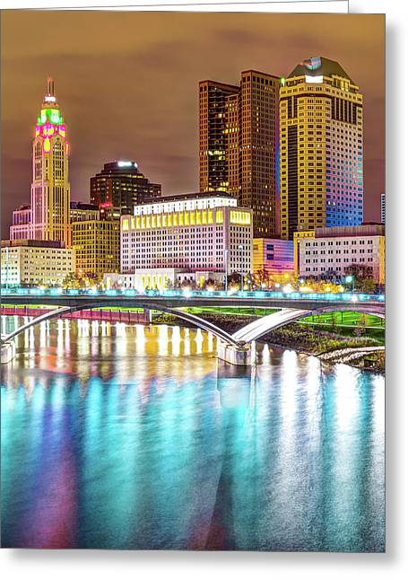 Columbus Skyline Reflecting On Blue Waters Greeting Card