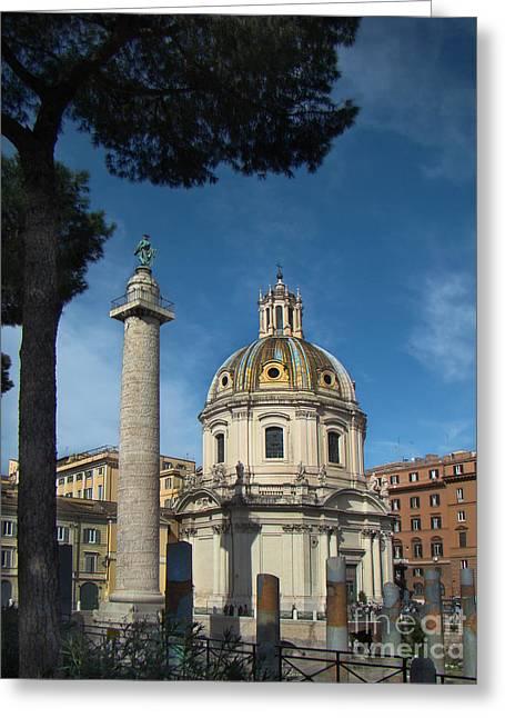 Column Of Trajan And Santissimo Nome Di Maria Al Foro Traiano Church - Rome Greeting Card by Al Bourassa