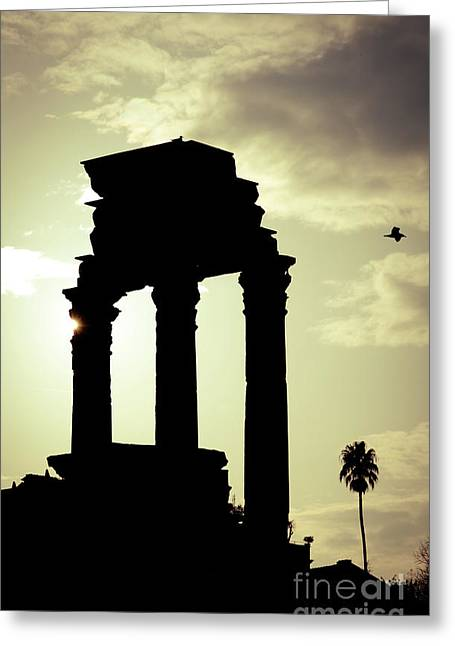 Column Sunset Temple Of Castor And Pollux In The Forum Rome Italy Greeting Card by Andy Smy