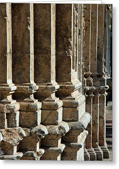 Stonewall Greeting Cards - Columns creating the facade of a gothic-style church Greeting Card by Sami Sarkis