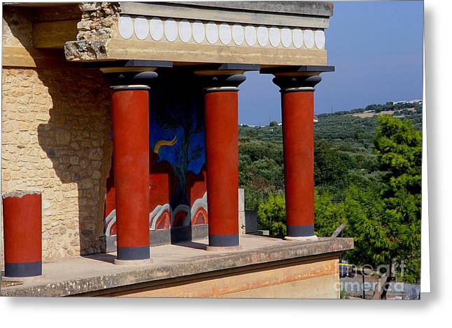 Greeting Card featuring the photograph Columns Of Knossos Greece by Nancy Bradley