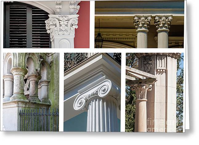 Columns Of New Orleans Collage Greeting Card by Kathleen K Parker