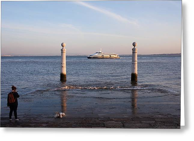 Columns Pier In Lisbon Greeting Card