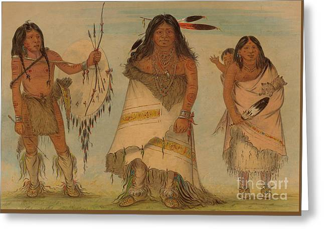 Comanche Chief, His Wife And A Warrior, 1861 Greeting Card by George Catlin