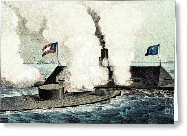 Combat Between The Monitor And The Merrimac During The Civil War Greeting Card
