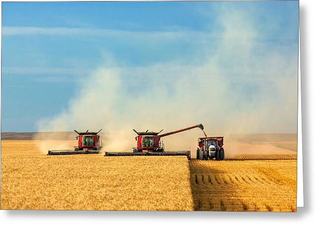 Combines And Tractor Working Together Greeting Card by Todd Klassy