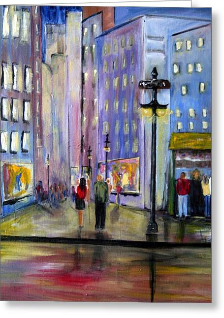 Cityscene Greeting Cards - Come Away With Me Greeting Card by Julie Lueders