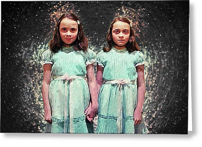 Come Play With Us - The Shining Twins Greeting Card by Taylan Apukovska