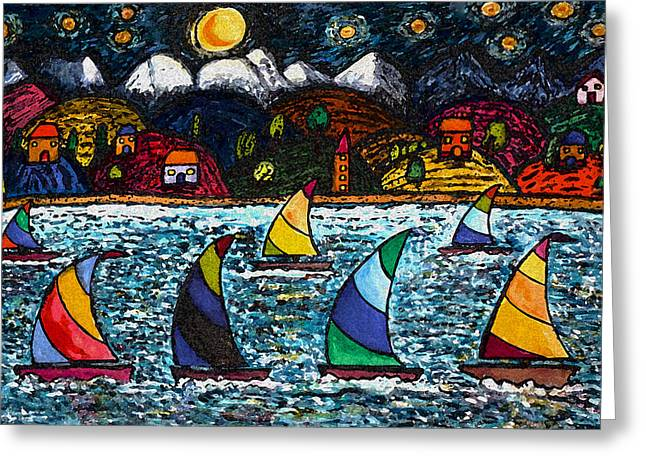 Come Sail Away Tonight Greeting Card by Monica Engeler