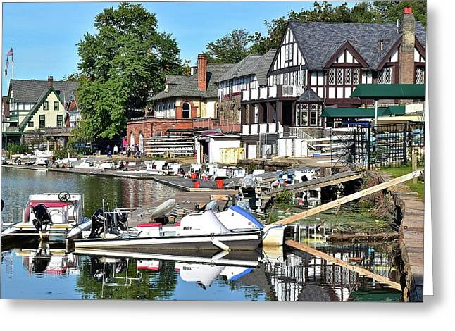 Come Visit Boathouse Row Greeting Card by Frozen in Time Fine Art Photography