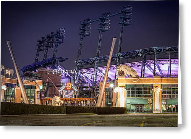 Comerica Park At Night Greeting Card by Matthew Harper